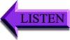 LISTEN Arrow Pointing Left to a Streaming Audio mp3 Voiceover Reading of Website Text Content